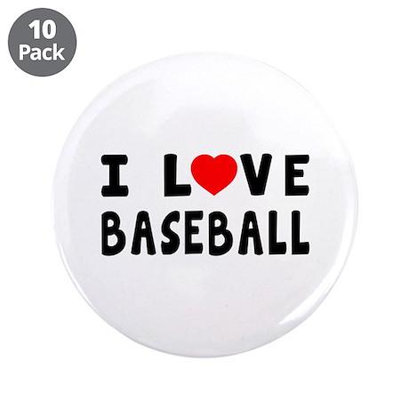 """I Love Baseball 3.5"""" Button (10 pack)"""