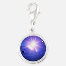 Inner solar system Silver Round Charm