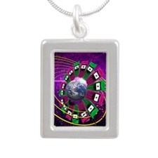Global communication Silver Portrait Necklace
