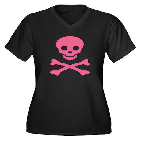 Pink Skull and Crossbones Women's Plus Size V-Neck