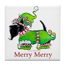 Merry Merry Scottish Terrier Tile Coaster