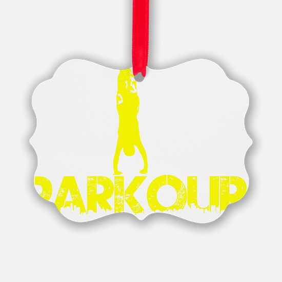 Parkour, Yellow, Stand Up! Ornament