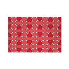 Red Heart and Crossbones Pattern Rectangle Magnet