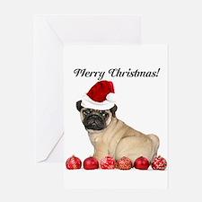 Merry Christmas Customizeable Pug Dog Greeting Car