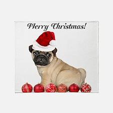 Merry Christmas Customizeable Pug Dog Throw Blanke