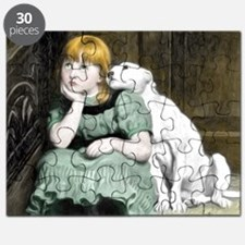 Dog Adoring Girl Victorian Painting Puzzle