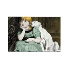 Dog Adoring Girl Victorian Painti Rectangle Magnet