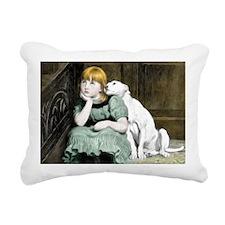 Dog Adoring Girl Victori Rectangular Canvas Pillow