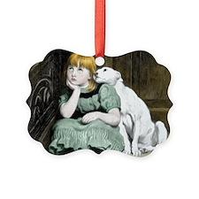 Dog Adoring Girl Victorian Painti Ornament