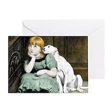 Dog Adoring Girl Victorian Painting Greeting Card