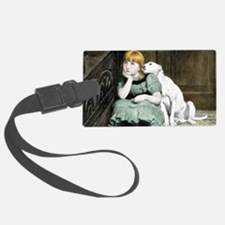 Dog Adoring Girl Victorian Paint Luggage Tag