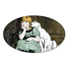 Dog Adoring Girl Victorian Painting Decal