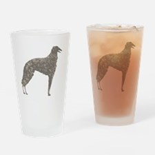 Borzoi Silhouette Colored Pencil Drinking Glass