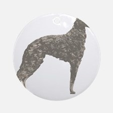 Borzoi Silhouette Colored Pencil Round Ornament