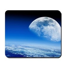 Moon rising over Earth's horizon Mousepad