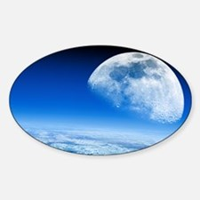 Moon rising over Earth's horizon Sticker (Oval)
