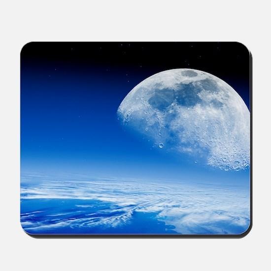 Moon rising over Earth's horizon Mousepad