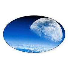 Moon rising over Earth's horizon Decal