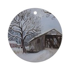 Covered Bridge Round Ornament