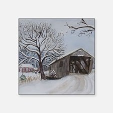 "Covered Bridge Square Sticker 3"" x 3"""