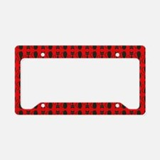 Red and Black Goth Cat Patter License Plate Holder
