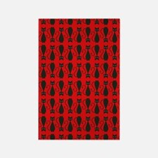 Red and Black Goth Cat Pattern Rectangle Magnet