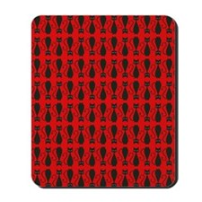 Red and Black Goth Cat Pattern Mousepad