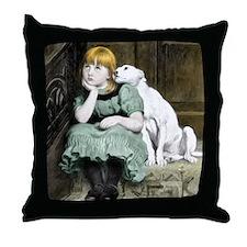 Dog Adoring Girl Victorian Painting Throw Pillow