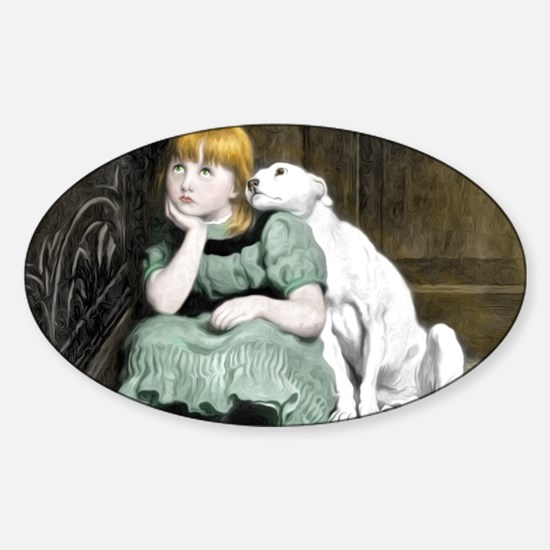 Dog Adoring Girl Victorian Painting Sticker (Oval)
