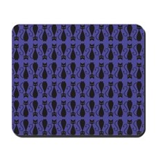 Purple and Black Goth Cat Pattern Mousepad
