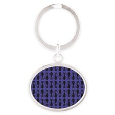 Purple and Black Goth Cat Pattern Oval Keychain
