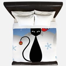 Christmas Cat with Snowflakes King Duvet
