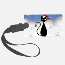 Christmas Cat with Snowflakes Luggage Tag