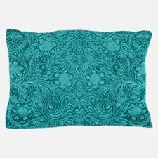 Leather Look Floral Turquoise Pillow Case