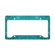Leather Look Floral Turquoise License Plate Holder