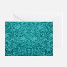 Leather Look Floral Turquoise Greeting Card