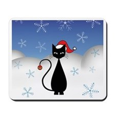 Christmas Cat with Snowflakes Mousepad