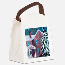 White Christmas Canvas Lunch Bag