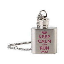 Keep Calm and Run On 13.1 Pink Flask Necklace