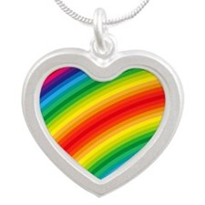 Rainbow Striped Pattern Silver Heart Necklace