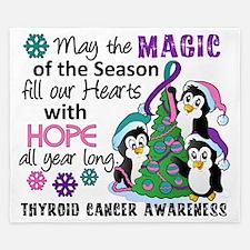 D Thyroid Cancer Christmas Penguins King Duvet