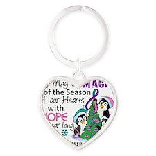 D Thyroid Cancer Christmas Penguins Heart Keychain