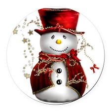 Red Snowman Round Car Magnet