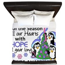 D SIDS Christmas Penguins King Duvet