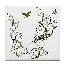 Obama Vine - Green - Dark Tile Coaster