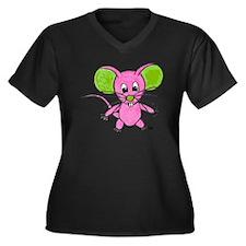 D-Lip Einste Women's Plus Size Dark V-Neck T-Shirt