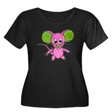D-Lip Ei Women's Plus Size Dark Scoop Neck T-Shirt