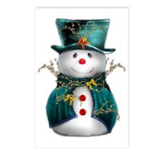 Cute Snowman in Green Vel Postcards (Package of 8)