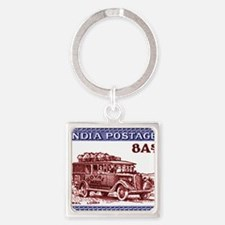 1940 India Mail Truck Postage Stam Square Keychain