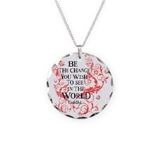Be the Change - Red Vine - L Necklace Circle Charm